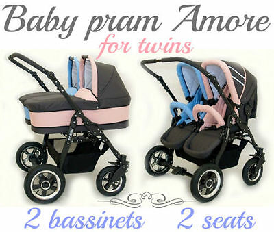 Baby Pram Amore For Twins With 2 Seats + 2 Bassinets Different Colors