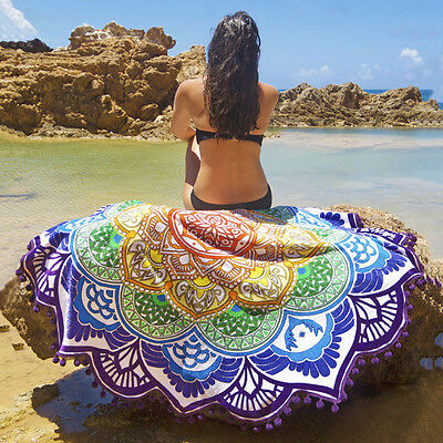 Indian Round Mandala Tapestry Tassel Throw Beach Towel Yoga Mat 147*147CM UO