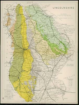 1904 Original Antique Colour Map of LINCOLNSHIRE Geological (39)