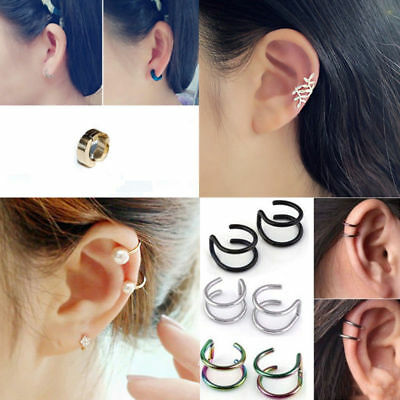1Pair Fashion Women Clip-on Earrings Cartilage Ear Cuff Clip Wrap Non Pierced