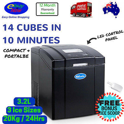 Ice Cube Maker Machine Portable Commercial 3.2L Automatic Home Fast Quick Cubes