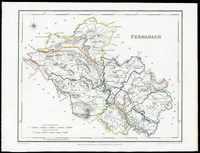 IRELAND 1845 Original Antique Map of FERMANAGH by Lewis & Co