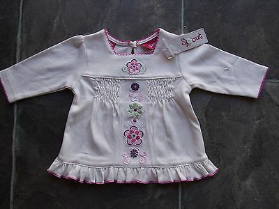 BNWT Baby Girl's Sprout Cream & Pink Floral Long Sleeve Cotton Top Size 000