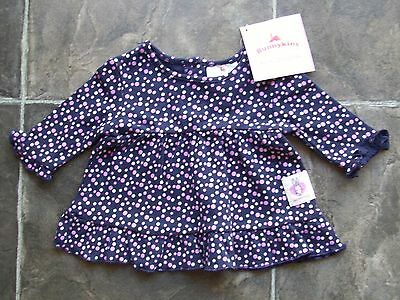 BNWT Baby Girl's Bunnykins Navy & Pink Frilly Long Sleeve Cotton Top Size 000
