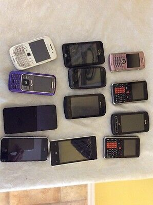 Lot of 12 Cell Phones For Parts Or Repair iPhone,Blackberry, Samsung, Etc