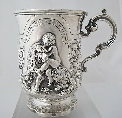 Amazing Victorian silver christening mug James Charles Edington London 1856