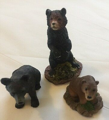 Lot Of 3 Miniature Resin Grizzly Black Brown Bear Figurines Animal Bears Nature