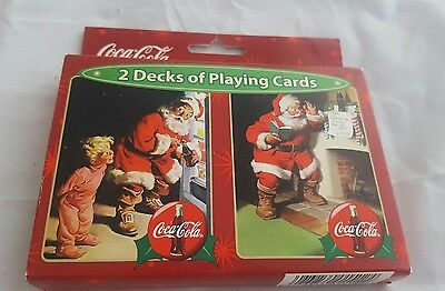 Coca Cola 2 Pack Playing Cards Game Christmas Santa Brand New