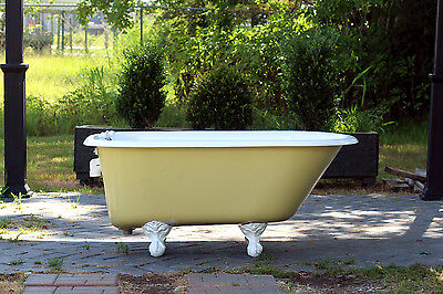 1940 Refinished 4.5' Clawfoot Bathtub Vintage Churlish Green Cast Iron Porcelain