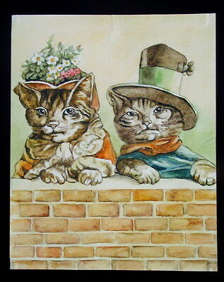 Antique Original Russian Watercolor Painting CATS Boy and Girl Kitty, Funny Rare