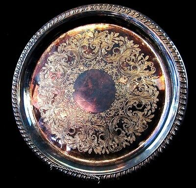 Sheridan Silverplate Round Serving Platter Tray 12 Inch Vintage Roped Edge