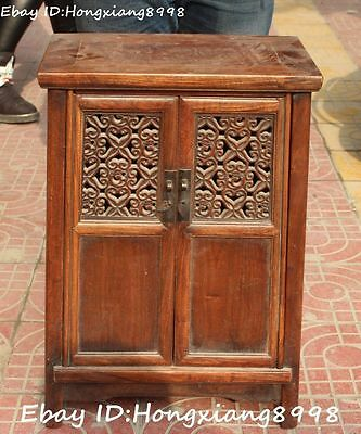 """23"""" Antique Chinese Huanghuali Yellow Pear Wood Classical Cabinet Cupboard Stool"""