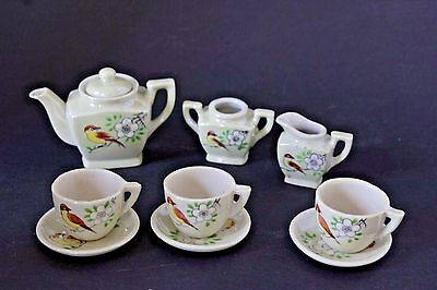 Vintage Lusterware Hand Painted Childs Toy Dishes Tea Set Occupied Japan 10piece