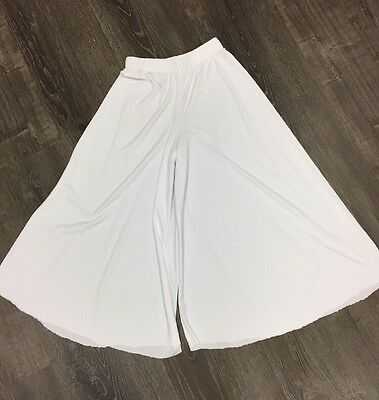 Body Wrappers Girls White Palazzo Praise Short Dance Pants size 12-14