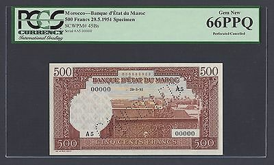 Morocco 500 Dirhams 29-5-1951 P45Bs Specimen Perforated Uncirculated