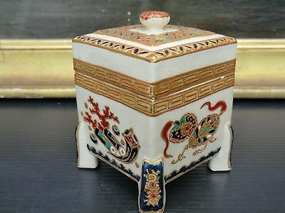 rare box cover Satsuma Kogo meiji Period mon mark to identify