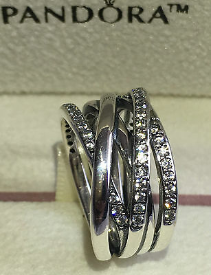 Pandora Entwining Silver Ring, 190919Cz  Size 54, S925 Ale Silver Sterling+Pouch