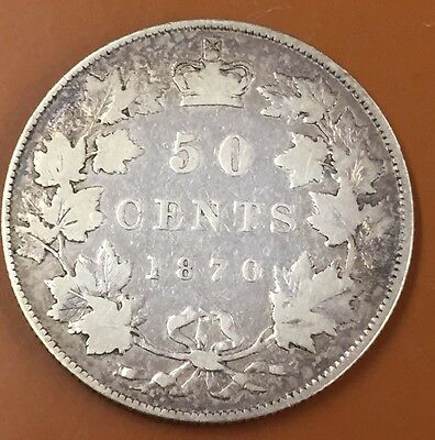 1870 LCW Canada Half 50 Cent Coin Canadian Fifty Cents