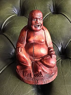 Antique/vintage Chinese Old Carved Wooden Happy Laughing Buddha With Teeth