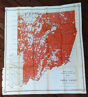 1902 Color Map Showing Creek Nation Indian Tribes Oklahoma