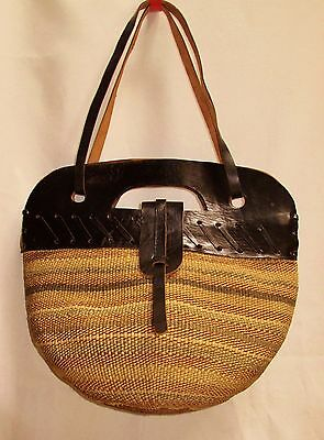 """Traditional Kenya Africa Woven Sisal Leather LARGE Market Carry-all Bag 40""""round"""