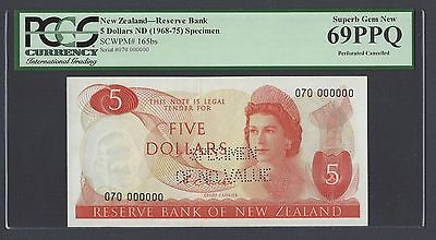 New Zealand Five Dollars 1968-75 P165bs Specimen Perforated Uncirculated