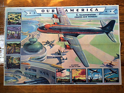 Set of 1943 Vintage Coca Cola Transportation Our America Posters Wyeth Heaslip