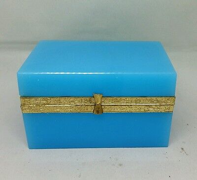 Beautiful Antique French Opaline Box Jewelry Casket Gold Gilt Mounts