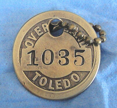 Antique Automotive Tool Check Brass Tag: WILLYS OVERLAND MOTORS; Jeep Maker