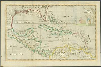 """1770 Original Antique Map """"WEST INDIES"""" by T KITCHIN Hand coloured"""