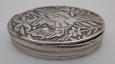 Vintage Solid Silver Handworked Decorated Small Box - Stamped - Made in Italy