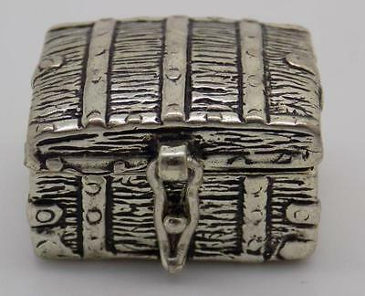 Vintage Solid Silver Unusual Trunk Box / Miniature - Stamped - Dollhouse - ITALY
