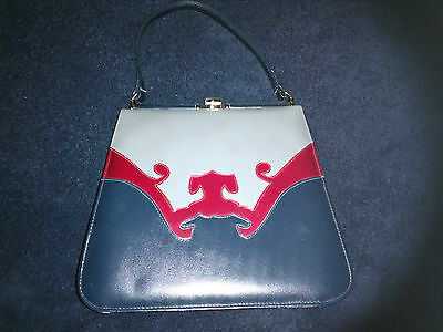 Blue Vintage Handbag Purse with Grey and red accents