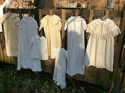 Lot ANTIQUE VICTORIAN BABY - DOLL CLOTHES CHRISTENING GOWNS DRESSES Slips 23 pcs