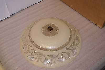 14 1/2in Antique Art Flower Glass Ceiling Chandelier Fixture Light Shade Nouveau