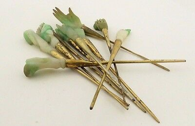 Antique Collection 12 Hand Carved Natural Jade & Silver w/ Gilt Jade Hair Pins.