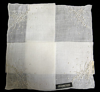 Madeira Celebritees Hanky Pure Linen Embroidered Madeira Portugal Vintage NWT's