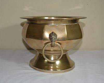 Large Antique Solid Brass Footed Planter/Vase w/ Lion Head Handles Hand Crafted