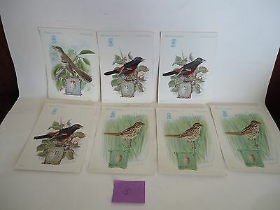 """""""American Song Birds"""" Singer Sewing Machine Trade Cards 1920's"""