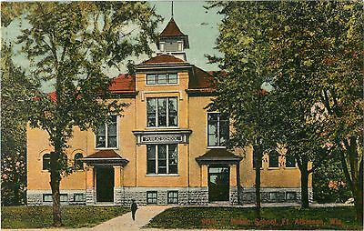A View Of The Public School, Fort Atkinson, Wisconsin WI 1909
