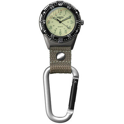 Dakota Aluminum Backpacker Clip Watch-Cream/Khaki