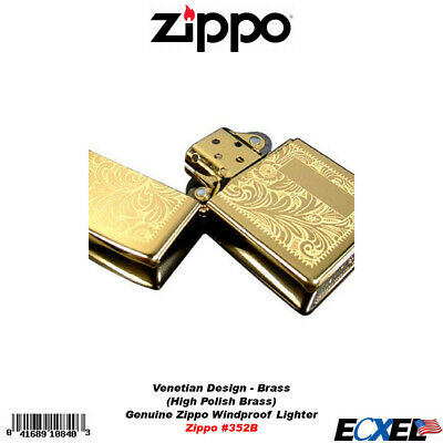 Zippo #352B High Polish Brass Venetian Design Lighter, Genuine USA Windproof