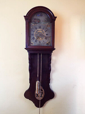RARE Antique Tail Clock 18th C European Dutch Animated Wooden Wall Clock 1700s