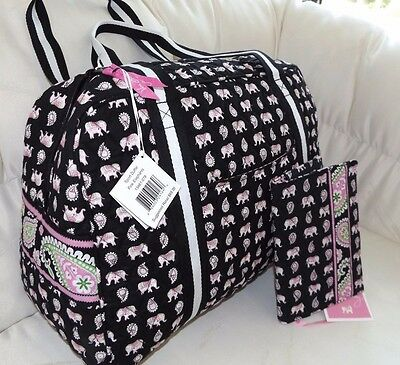 Vera Bradley Sport Duffel Bag & Free Book Cover  Pink Elephants - New With Tags