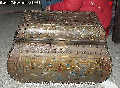 "18"" Old Chinese Wood Lacquerware Two Dragon Play Ball Treasure jewelry Box Chest"