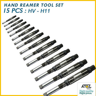 "Sale Atoz 15 Pcs ADJUSTABLE HAND REAMER SET H-V TO H-11 SIZES 1/4 "" to 1.1/16 """