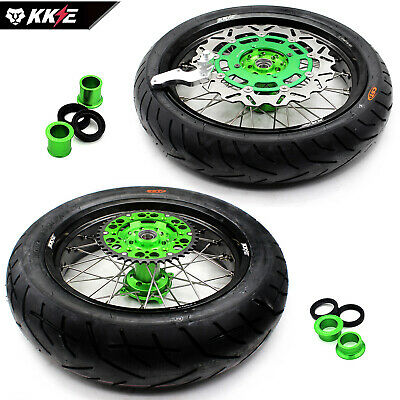 4.25*17 150 Tire Kawasaki Oem Size Supermoto Wheel Set Kx250F 04-17 Kx450F 06-17