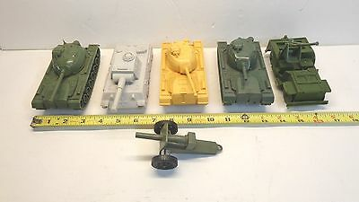 Vintage Tim-Mee Marx Army Toy Lot 6 Pieces Tanks Cannon Jeep Green Yellow Grey