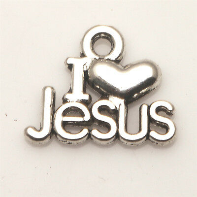 I LOVE JESUS Tibetan Silver Pendants Charms Jewelry Finding