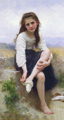 Dream-art Oil painting Bouguereau - Nice young girl - Before bath by river 36""